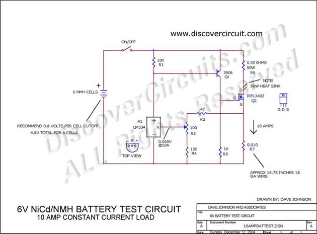 Circuit 6V Battery Test Circuit designed by David A. Johnson, P.E. (Dec 12, 2004)