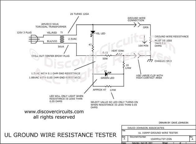 Circuit UL Ground Wire Resistance Tester designed by Dave Johnson, P.E. (Apr 28, 2001)