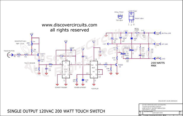 Circuit Single OutPut 120VAC 200 Watt Touch Switch designed by Dave Johnson, P.E.