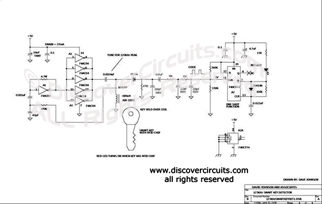 Circuit 125KHz Wireless Smart Key Detector Circuit designed by David A. Johnson, P.E.