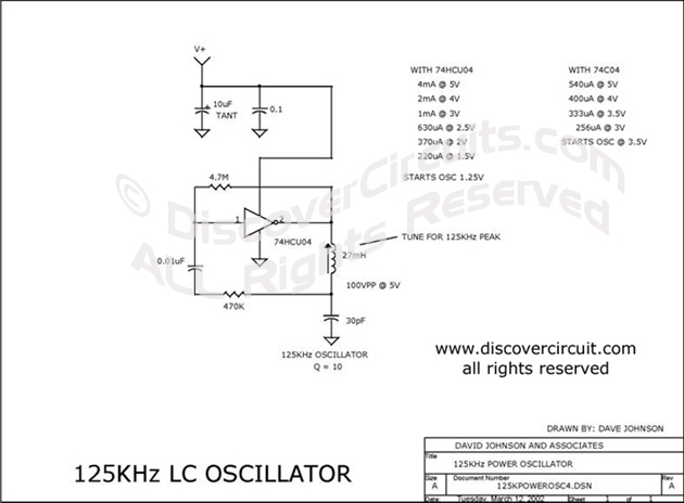 Circuit 125KHz LC Oscillator Circuit designed by Dave Johnson, P.E.