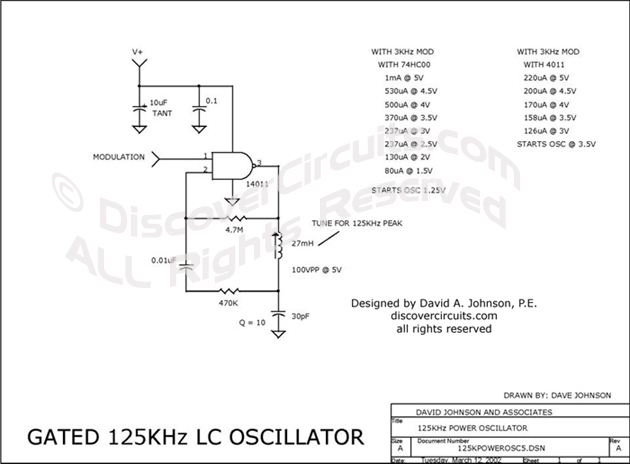 Circuit Gated 125KHz LC Oscillator designed by David Johnson, P.E. (March 12, 2002)