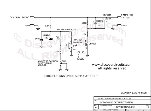 Circuit 6V to 24V DC Day / Night Switch Circuit designed by David A. Johnson, P.E. (June 30, 2006)