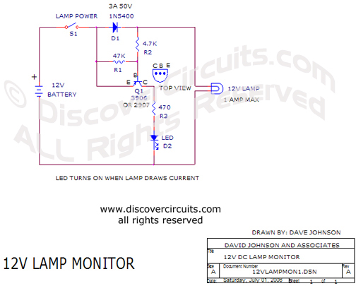 Circuit 12V Lamp Monitor Circuit designed by Dave Johnson, P.E. (July 1, 2006)