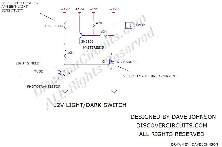 Circuit Switch Hobby Circuit12v Light/Dark schematic designed by Dave Johnson