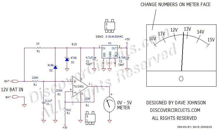 Battery Expanded Voltage Monitor designed by Dave Johnson