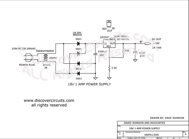 Circuit 18V 1 AMP Power Supply Circuit designed by Dave Johnson, P.E. (June 30, 2006)