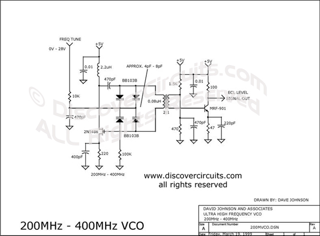 Circuit 200MHz400MHz VCO designed by David A. Johnson, P.E.  (March 19, 1999)