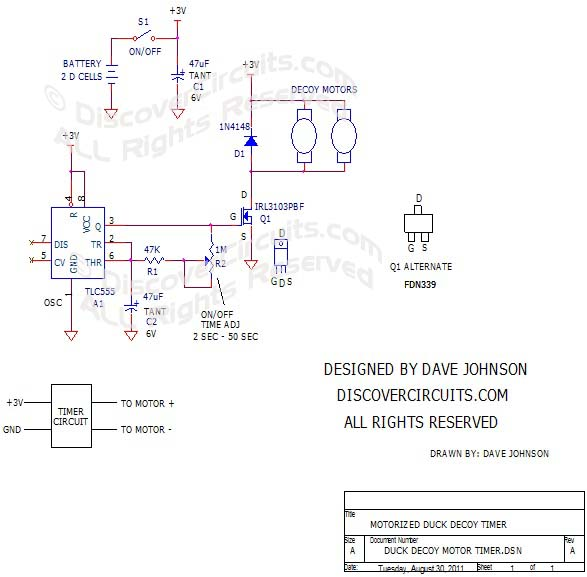 The Wonder Duck Flapping Wings Timer Circuit designed by David Johnson