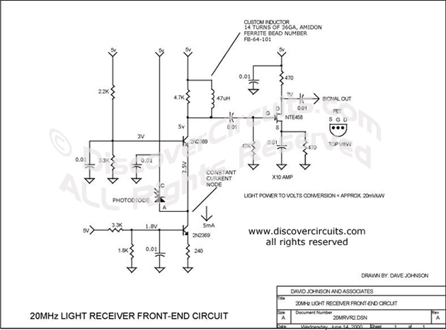 Circuit 20MHz Light Receiver Front-End Circuit designed by David Johnson, P.E.  (June 14, 2000)