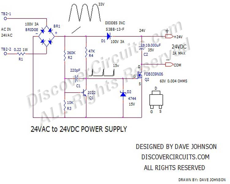 24VAC to 24VDC Power Supplydesigned by David Johnson