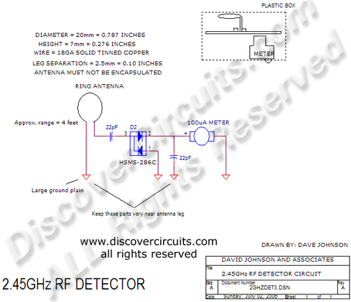 Circuit 2.45GHz RF Detector DiscoverCircuits.com  --   Hobby Corner (July 2, 2006)