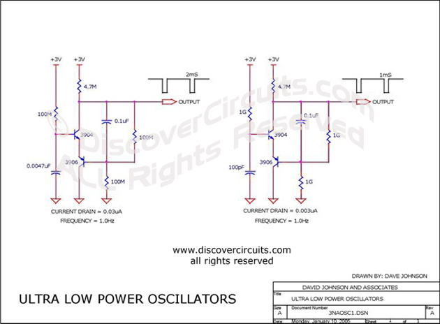 Circuit Ultra Low Power Oscillators designed by David Johnson, P.E. (January 10, 2005)