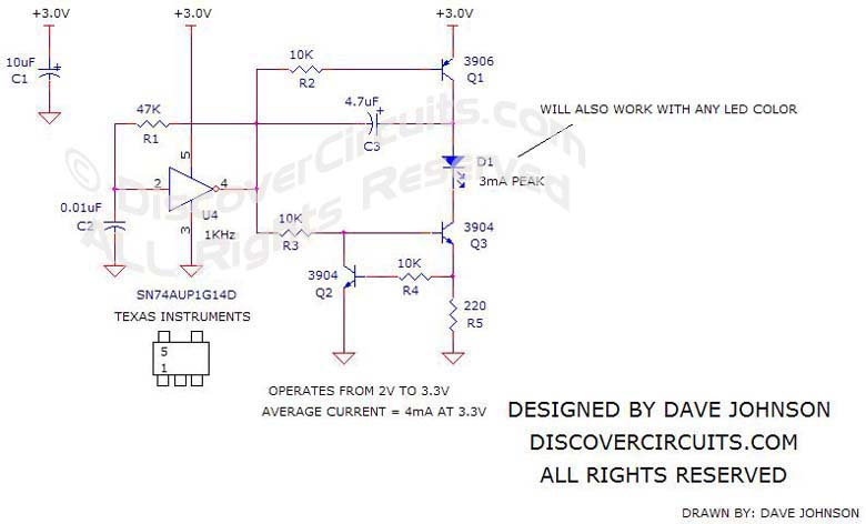 Circuit Schematic 3v White LED Driver designed by Dave Johnson, P.E.