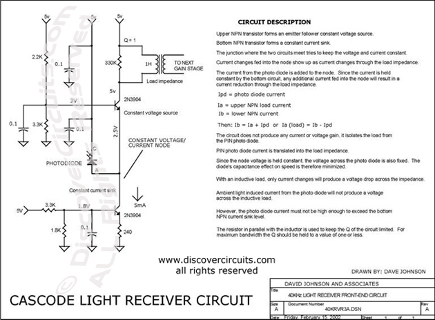 Circuit Cascode Light Receiver Circuit designed by David Johnson, P.E. (Feb 15, 2002)