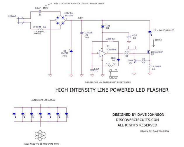 SchematicHigh Intesnity Line Powered LED FlasherDave Johnson