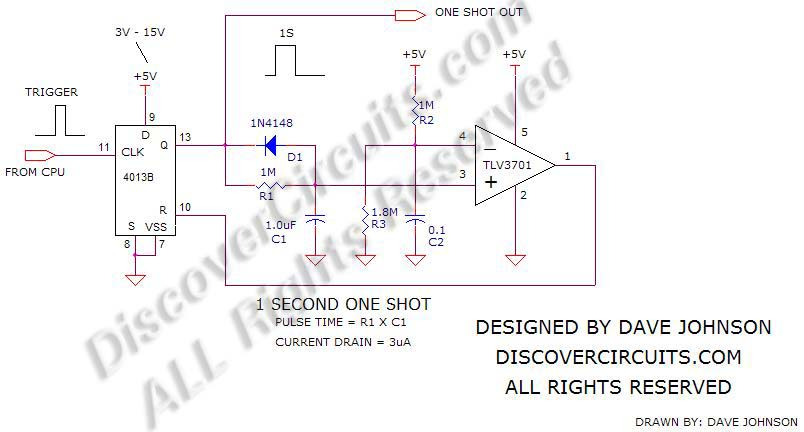 Accurate 1 Second One Shot Circuit designed by Dave Johnson, P.E.