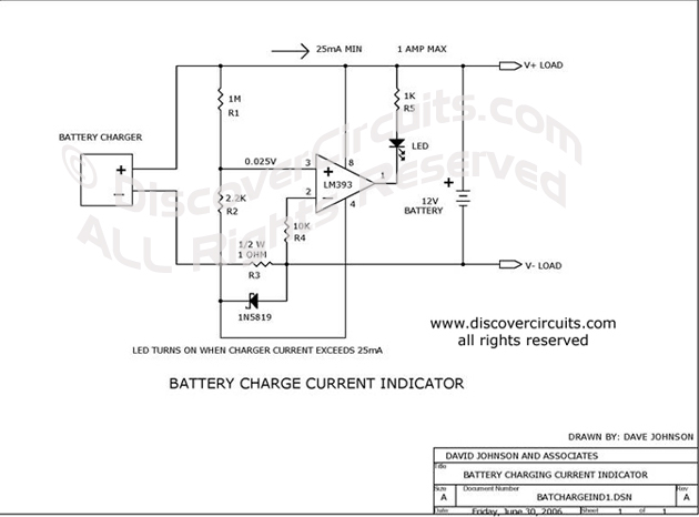 Circuit Battery Charge Current Indicator DiscoverCircuits.com  --   Hobby Corner (June 30, 2006)