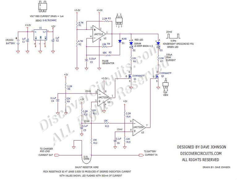 Bidirectional DC-Current Indicator Circuit designed by David Johnson