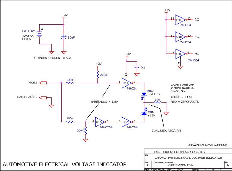 Circuit Automotive Electrical Voltage Indicator Circuit designed by David Johnson, P.E. (June 30, 2006)