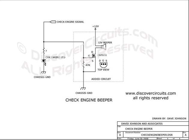Circuit Check Engine Beeper Circuit designed by Dave Johnson, P.E. (June 30, 2006)
