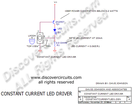 Circuit Constant Current LED Driver, David Johnson & Associates