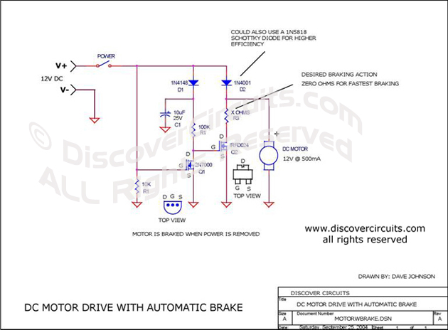 Circuit DC Motor Drive with Automatic Brake