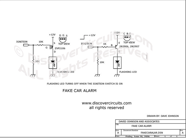 Circuit Fake Car Alarm Circuit designed by Dave Johnson, P.E. (June 30, 2006)