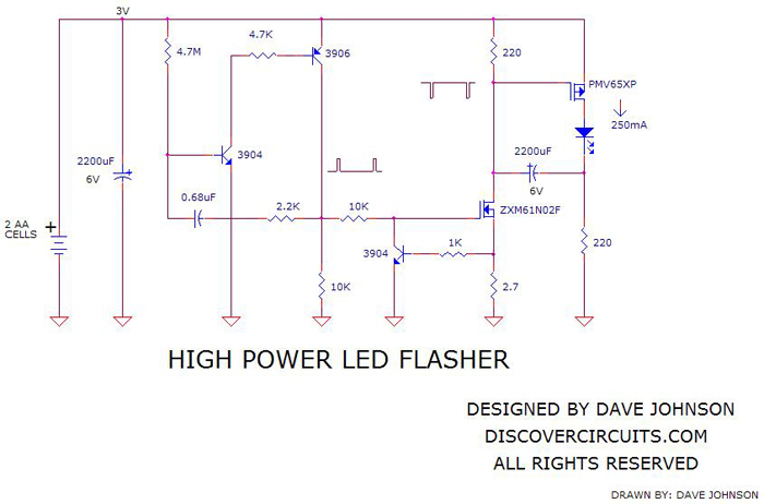 Circuit-High Power LED Flasherdesigned by Dave Johnson