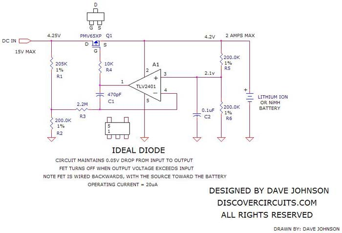 Circuit forms Ideal Diode Function