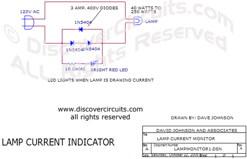 Circuit Lamp Current Indicator Circuit designed by David Johnson, P.E. (Oct 22, 2005)