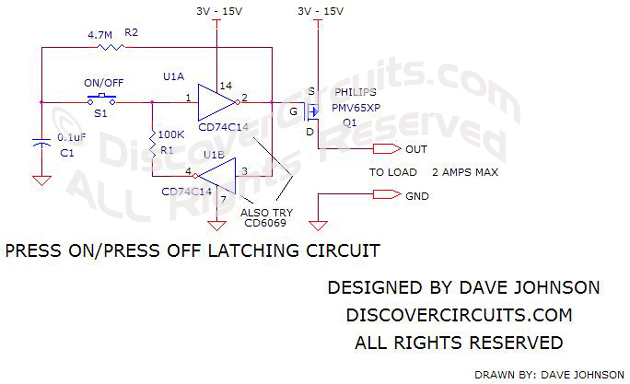 latch on/off circuit schematic