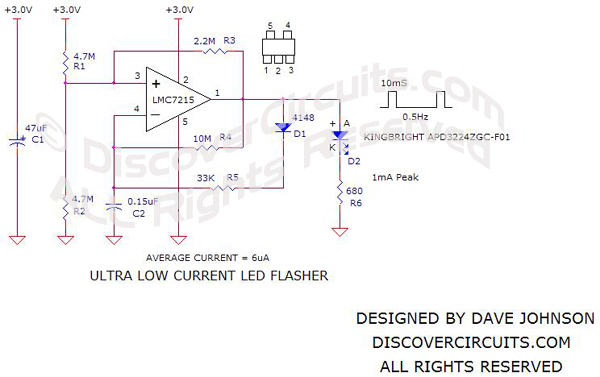 CircuitUltra Low Current LED FlasherDave Johnson