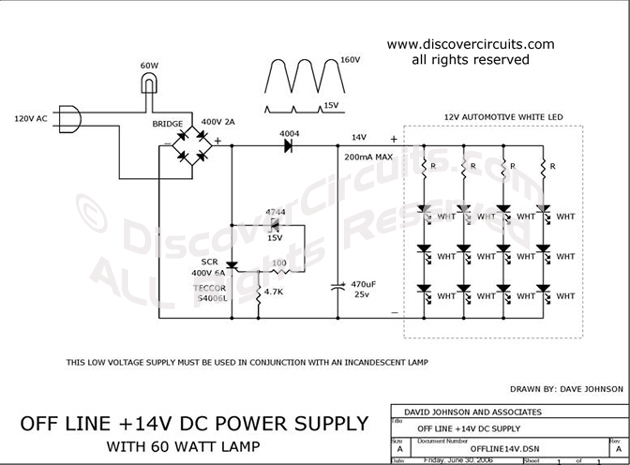 Circuit Off Line + 14V DC Power Supply designed by Dave Johnson, P.E. (June 30, 2006)