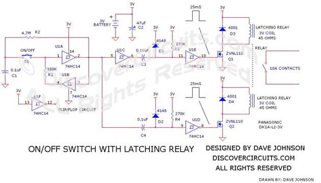 On/Off Switch with Latching Relay designed by Dave Johnson, P.E.