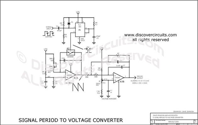 Circuit Signal Period to Voltage Converter designed by Dave Johnson