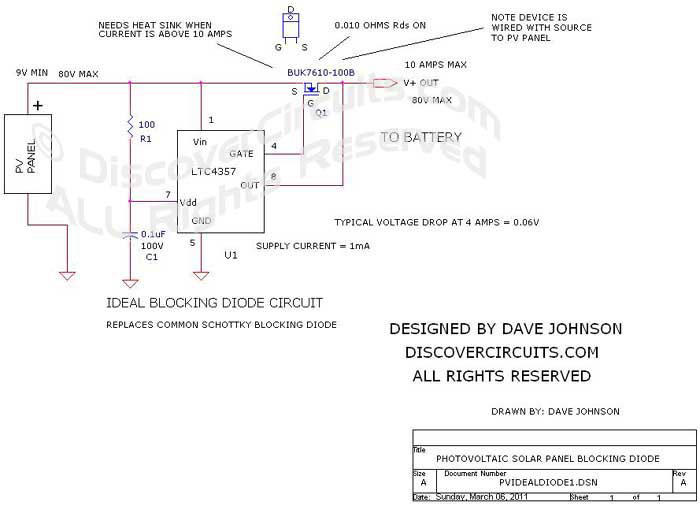 Ideal Diode for PV Solar Panel __ Circuit   designed by David Johnson