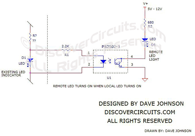 Circuit Remote LED Indicator Light Schematic by David Johnson