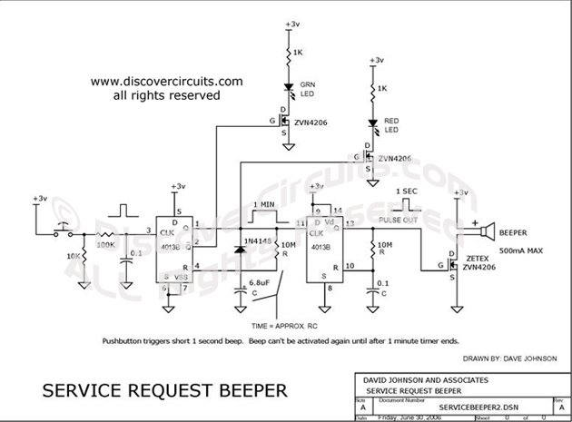 Circuit Circuit Beeper Circuit Service Request designed by David A. Johnson, P.E. (June 30, 2006)