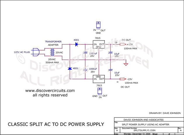 Circuit Classic Split AC to DC Power Supply designed by David A. Johnson, P.E.  (Dec 13, 2004)