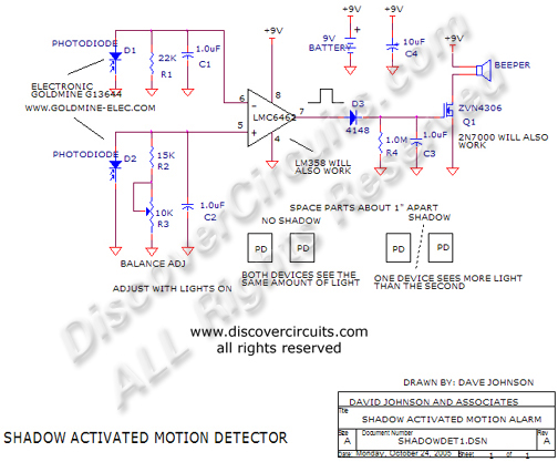 Circuit Shadow Activated Motion Detector designed by Dave Johnson, P.E. (Oct 24, 2005)