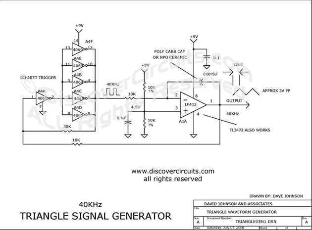 Circuit Triangle Signal Generator Circuit designed by Dave Johnson, P.E. (July 1, 2006)