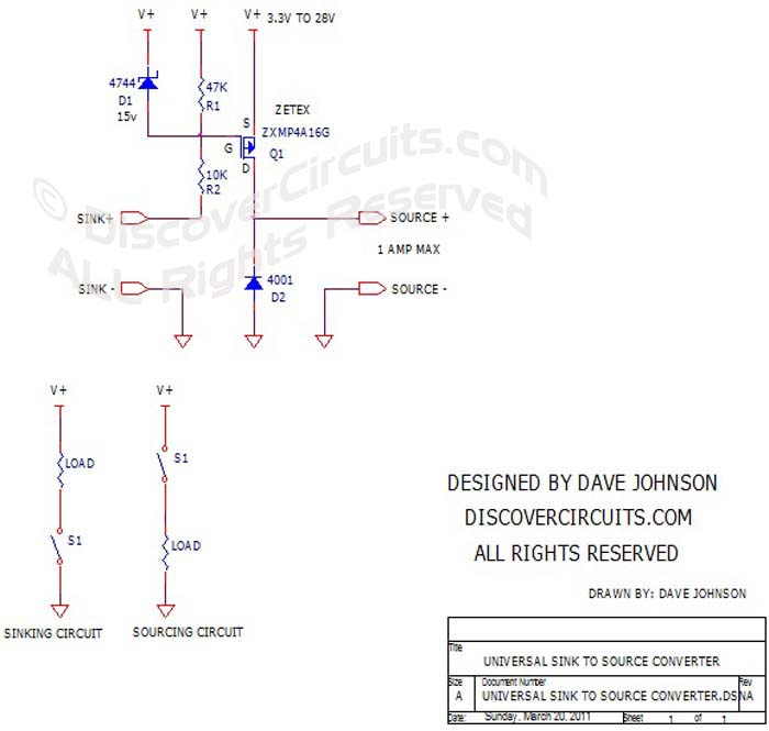 Sink to Source Universal DC Converter designed by Dave Johnson