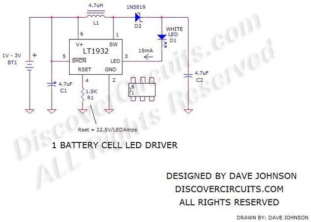 1 battery Cell LED Driver Circuit schematic