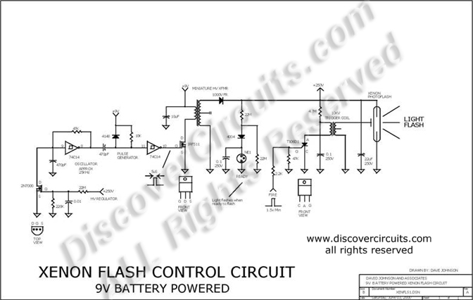Circuit Xenon Flash Control Circuit designed by Dave Johnson, P.E.