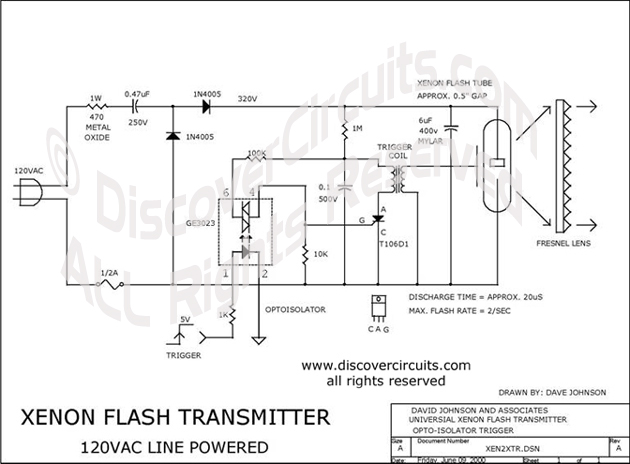 Circuit Xenon Flash Transmitter designed by Dave Johnson, P.E. (June 9, 2000)