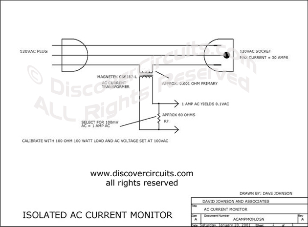 Circuit Isolated AC Current Monitor designed by David A. Johnson (January 20, 2001)