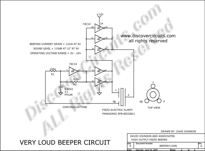 Circuit Very Loud Beeper Circuit designed by Dave Johnson, P.E. (June 3, 2000)