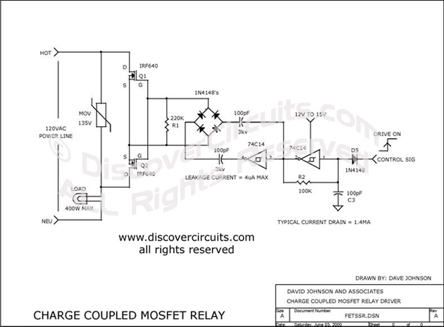 Circuit Charged Coupled MOSFET Relay designed by David A. Johnson, P.E. (June 3, 2000)