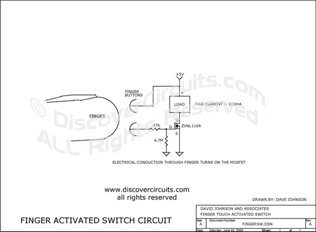 Circuit Finger Activated Switch Circuit designed by Dave Johnson, P.E. (June 3, 2000)